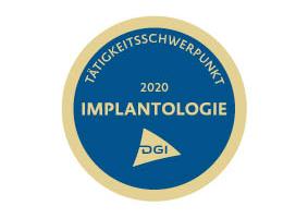 DGI Siegel für den Taetigkeitsschwerpunkt Implantologie