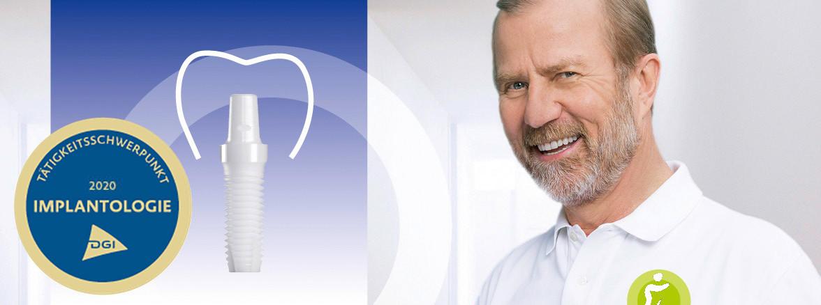Portraitbild Dr. Jochen Mellinghoff kombiniert mit einer Implantat-Schemazeichnung.
